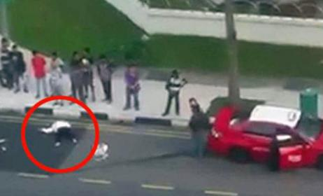 Woman flung onto road after lorry hits her and 5 cars at Serangoon