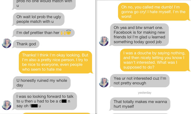 Girl gets rejected on dating app -- and goes completely insane