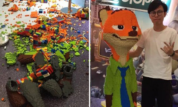 Kid destroys $20,000 sculpture just one hour after LEGO expo opens in China