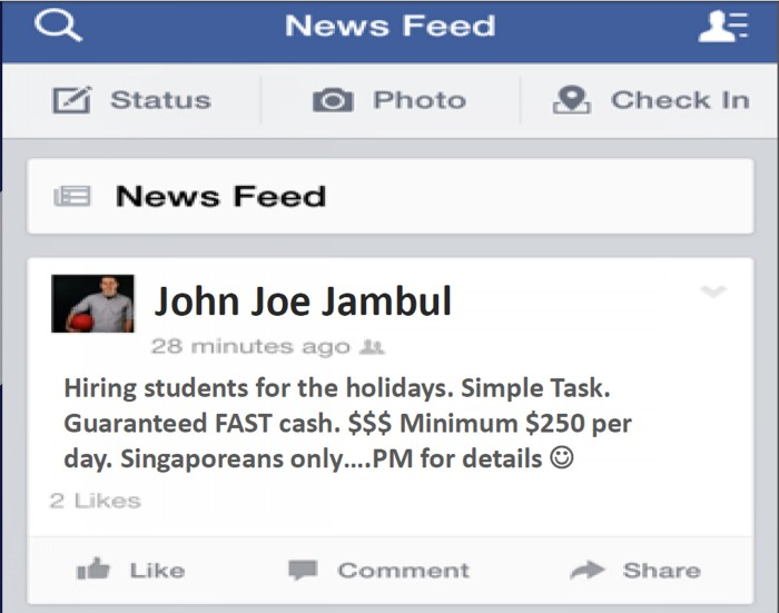 More youths get involved in loanshark activities -- who are recruited by social media