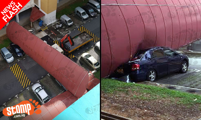 Driver in his 60s arrested after lorry crane completely destroys walkway shelter at Bukit Batok