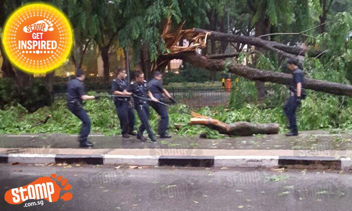 Thank you! Police officers work tirelessly in heavy rain to keep us safe