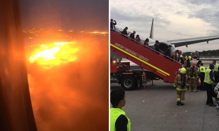 SQ plane turns back to Changi Airport after leaking oil, then bursts into flames while landing