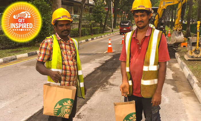 Woman delivers leftover Starbucks pastries and snacks to delighted foreign workers