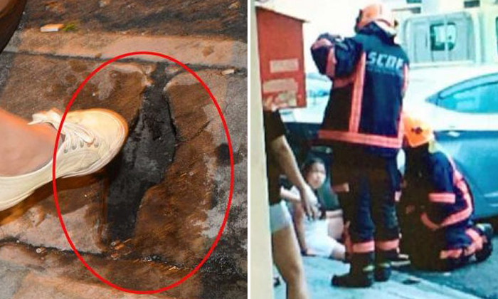 Girl trapped for 40 mins after leg gets stuck in concrete slab along Joo Chiat Road