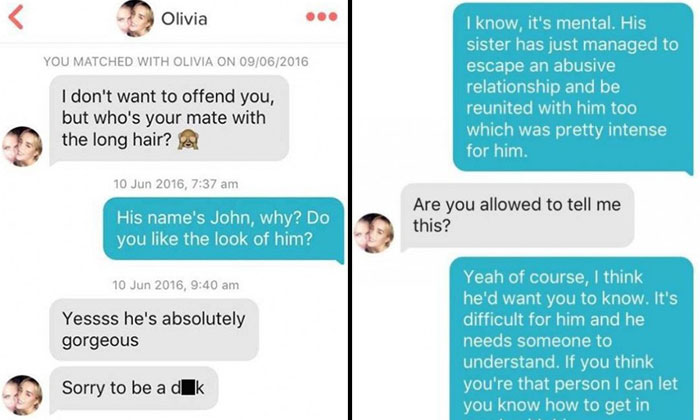 Guy trolls girl he meets on Tinder after she starts asking about his friend