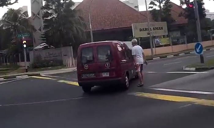 Van driver comes so close to running over elderly man -- but doesn't even realise it