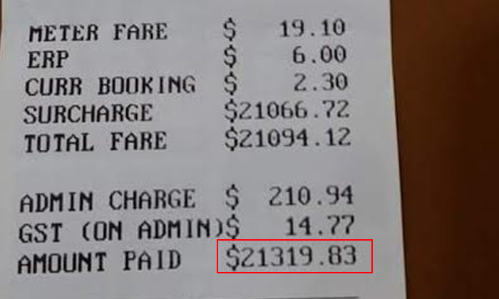 For real? Photo on FB shows shocking $21K cab fare!