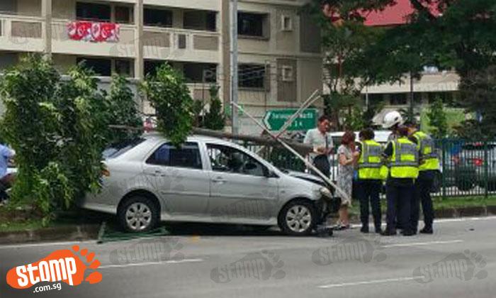 Toyota driver crashes through road divider along Ang Mo Kio Avenue 3