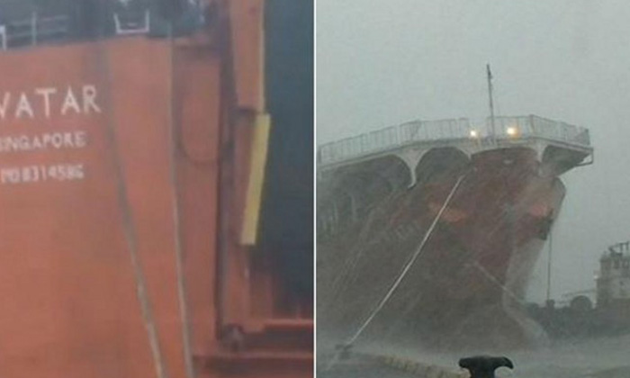 Ropes from Singapore-registered ship snaps in typhoon, nearly hitting Taiwan warship
