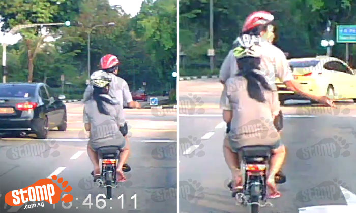 Uncle on e-bike hogs right-turn lane -- then rudely gestures at driver after being honked at