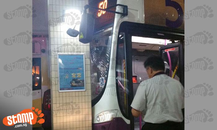 Bus crashes into pillar at Bishan Bus Interchange after driver allegedly forgot to apply handbrake