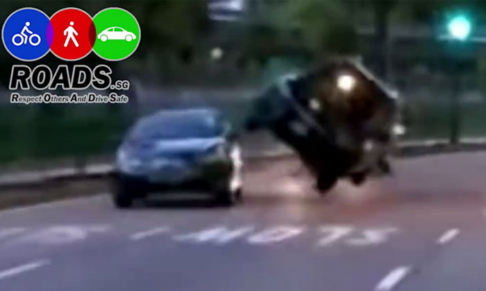 SUV nearly flips after sideswiping car along Ang Mo Kio Ave 8
