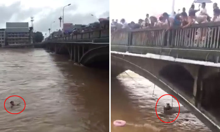 Chinese locals use ropes and nets to save soldier from being swept away by floodwaters