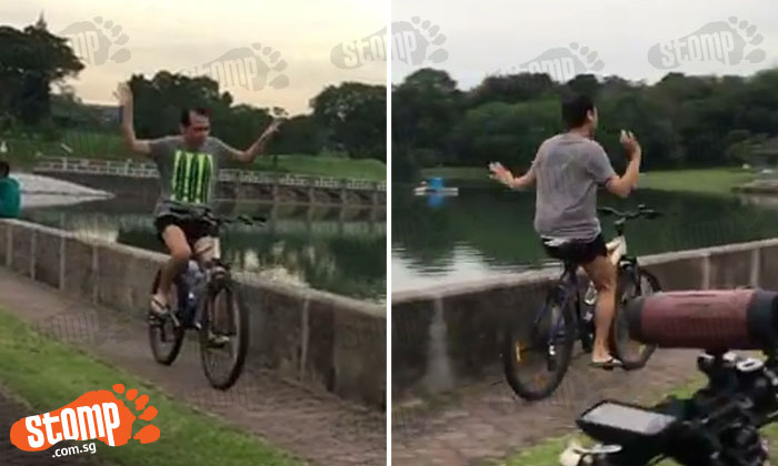 'Super happy cyclist' at Pierce Reservoir is here to put a smile on visitors' faces