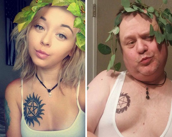 Dad trolls daughter by recreating her selfies