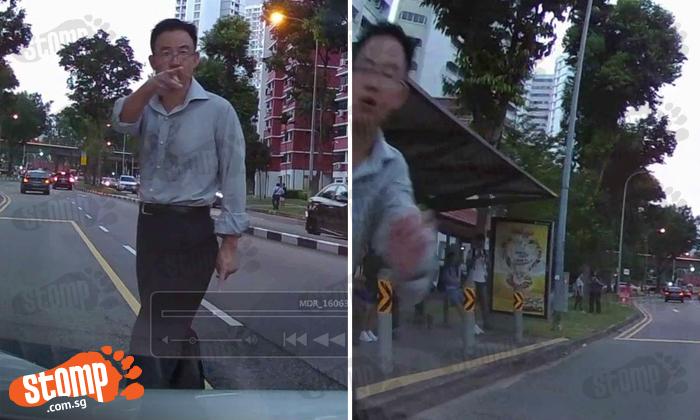 Man jaywalks at Bukit Batok -- then has the cheek to hit woman's car after getting honked at