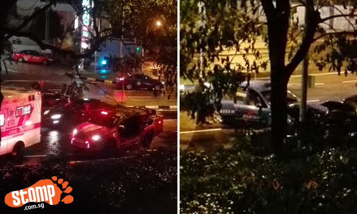 2 females sent to hospital after accident involving taxi and car along Holland Road
