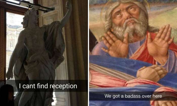 LOL! A trip to the museum is not complete without Snapchat