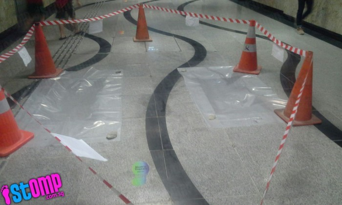Floor tiles 'pop out' of ground at Beauty World MRT Station
