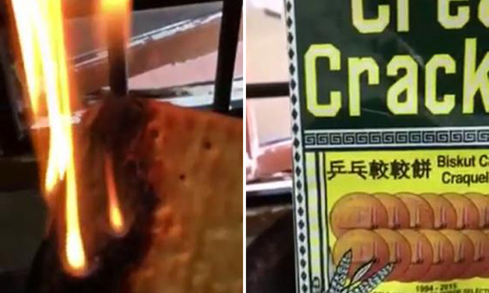 Hup Seng insists crackers are safe for consumption after claims that they contain flammable plastic