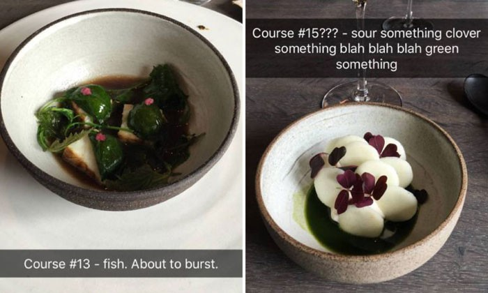'Regular person' dines at Michelin Starred restaurant -- and produces these epic Snapchats