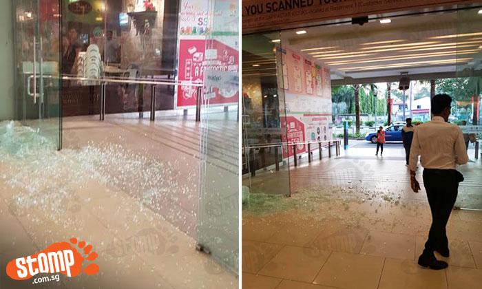 Loud thud heard before glass door at Sembawang Shopping Centre falls and shatters