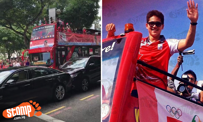 Oops! Was driver too distracted by Joseph Schooling's victory parade before crashing into Jaguar in front?