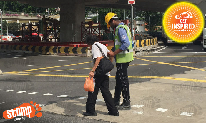 We can all learn from this kind foreign worker who helped old woman cross the road