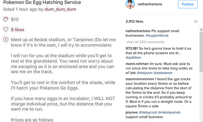 'Enterprising' netizen offers to run around Bedok or Tampines stadiums to help you hatch Pokemon eggs... if you are willing to pay