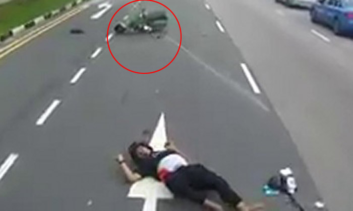 Biker sent flying after slamming right into the back of a van