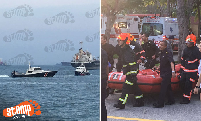 Drama at East Coast Park as Police Coast Guard rescue teenager and elderly man from sea