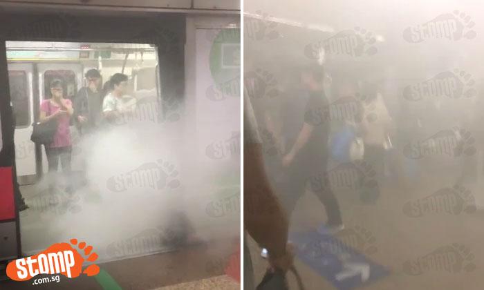 Passengers flee as train fills with smoke at Tanjong Pagar MRT station