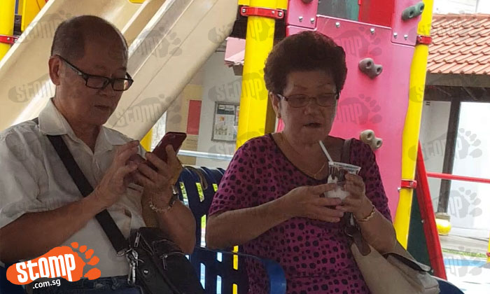 Ah gong and ah ma so cute... playing Pokemon Go