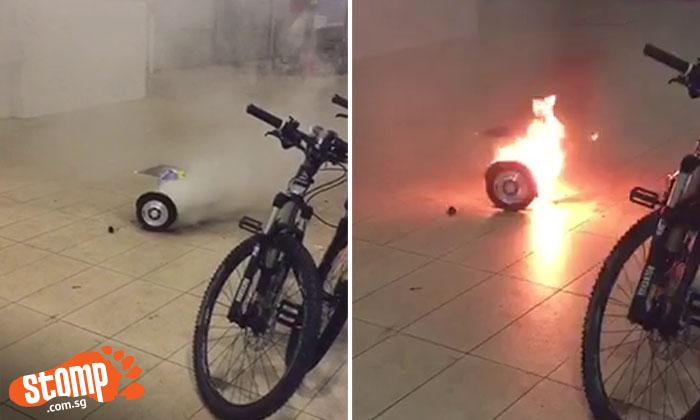 Hoverboard emits smoke, then starts crackling and exploding at Telok Blangah market