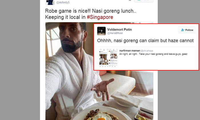 'Ohhh, Nasi Goreng can claim but haze cannot': Rio Ferdinand's tweet sparks debate between S'poreans and Indonesians