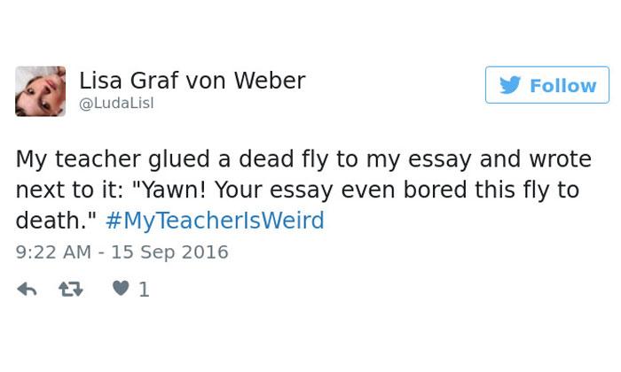 People share their funniest #MyTeacherIsWeird stories
