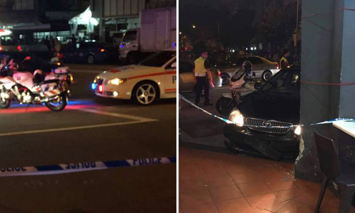 2 injured, 4 vehicles smashed after driver evades Henderson roadblock and crashes car in Geylang during police chase