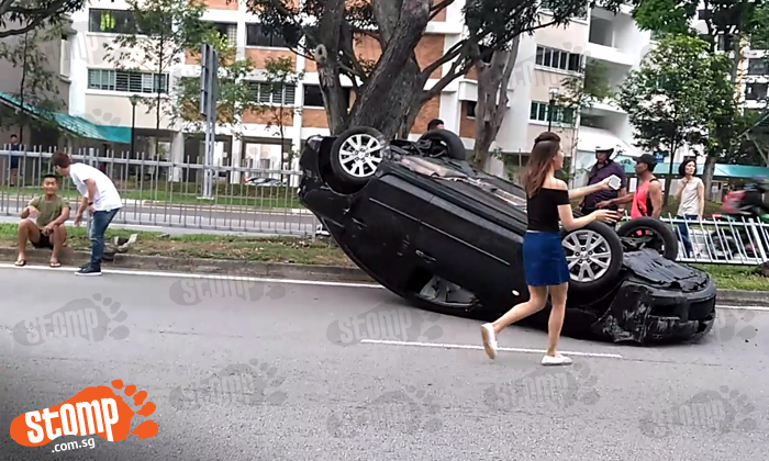 Car flips over at Tampines Avenue 2: 'I wanted to help but it was too late'