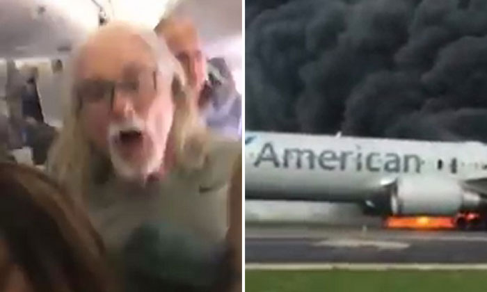 Chilling video shows passengers escaping American Airlines plane catches fire after its engine fails