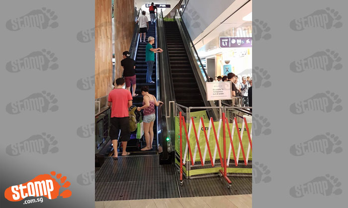 Crowd forms at Punggol Waterway Point lift lobby after escalator breaks down