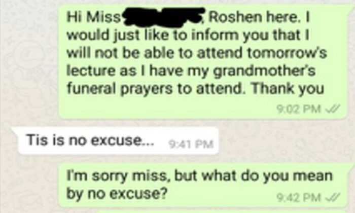 Dead grandmother is 'not a good reason to skip school' -- and teacher continues to ask for evidence with no condolences offered