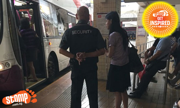 Kudos to this Bishan MRT station security officer who ensures blind woman has a safe journey