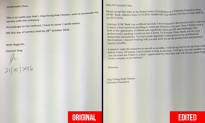 Bank manager allegedly edits executive's resignation letter and credits himself, earns netizens' contempt
