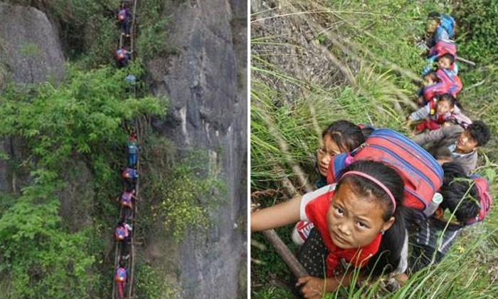 Kids in China finally get steel ladder to make dangerous climb to school slightly safer