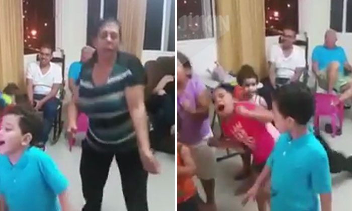Ouch! Watch how dancing grandma trips and falls on small kid
