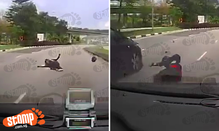 Rider flung off bike and onto other side of the road -- then apparently gets run over by oncoming cars