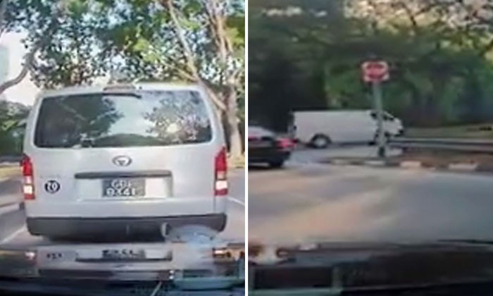 Van driver brakes abruptly, then goes against traffic at Republic Bvld