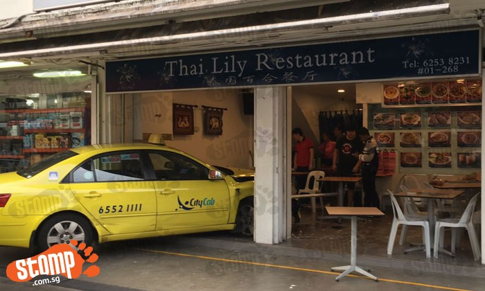 Taxi crashes into Toa Payoh Thai restaurant: Cabby accidentally stepped on accelerator as he tried to make 3-point turn