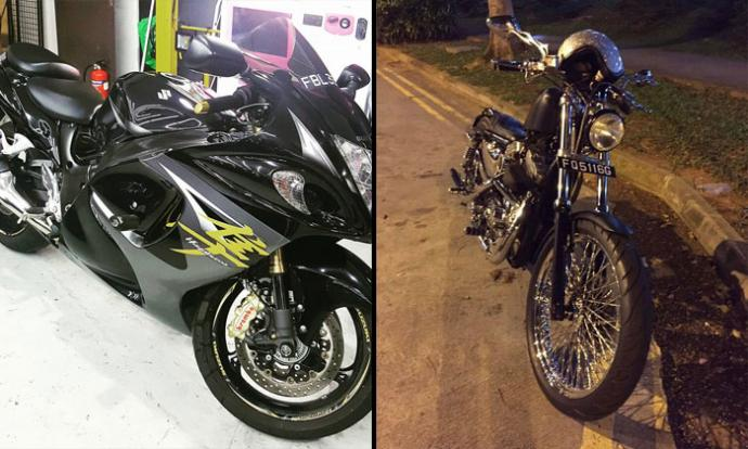 2 men arrested for stealing 3 bikes in Woodlands: Harley Sportster, Suzuki Hayabusa and Yamaha VMAX